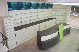 Pharmacy equipment, interior design for pharmacies